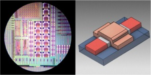 Izda.) Imagen de microscopio de un chip de silicio con el cual los investigadores han diseñado el sensor de puerta. Dcha.) Diagrama de un transistor tripuerta de silico.  M. Fernando González-Zalba, Hitachi Cambridge Laboratory.