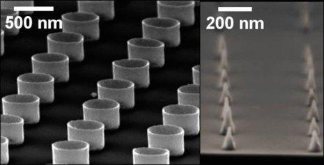 """Imagen de SEM que muestra dos ejemplos de las nanoestructuras que pueden fabricarse por el nuevo método de fabricación propuesto, en forma de """"nano-taza"""" o de nano-cono."""