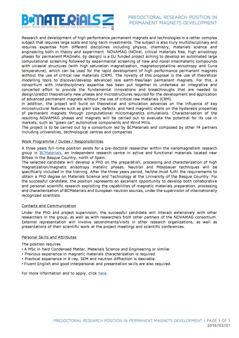 20160201 - Predoctoral Research position in Permanent Magnets developmen...