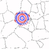 Proyección de la densidad de espín local en un grafeno policristinalino: paquete de ondas propagándose dentro de un grano. Stephan Roche (ICREA & CIN2)